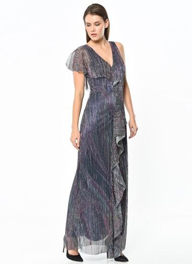 Omuz Detaylı Uzun Şifon Elbise-Koton